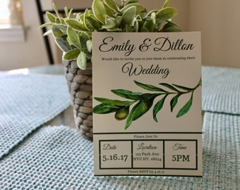Wedding Invitations, Custom, Palm Leaf, Wedding Invitations, Printable