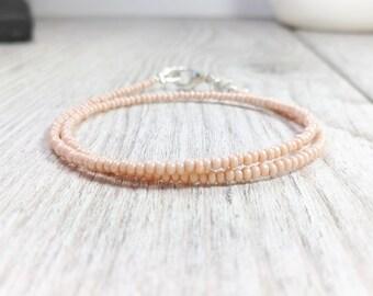 Ceed Bead Bracelet, Thin Beige Bracelet, Delicate Bracelet, Friendship Bracelet, Minimalist Jewelry, Minimalist Bracelets, Delicate Jewelry