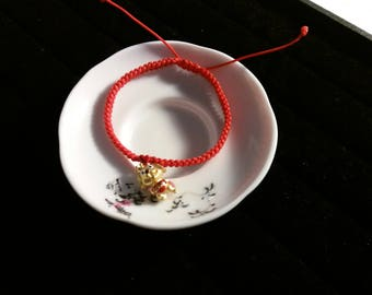 24k Pure Gold Cute Dog Charm with Enamel Lucky Chinese Red String Bracelet