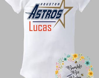 Houston Astros, Monogrammed With or Without Child's Name (Front or Back)- Onesie or Tee