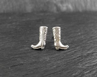 Sterling Silver Tiny Cowgirl Boots Earrings | Vintage Women's Stud Earrings