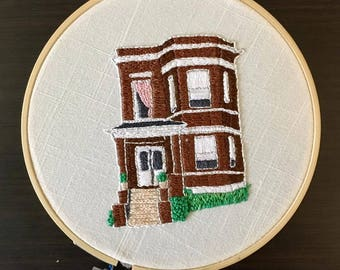 Chicago Two Flat House Embroidery