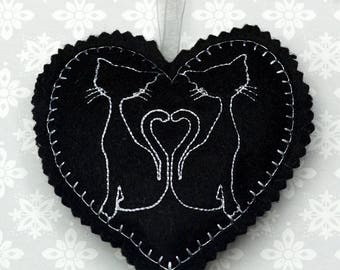 Embroidered heart, felt heart,  hanging heart, machine embroidered heart