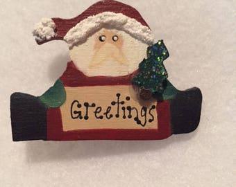 Santa Greetings Pin