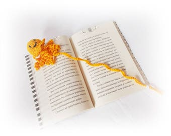 Amigurumi Crochet Bookmark octopus Book Lover Gift Teacher Gift Yellow crochet octopus  Book accessories