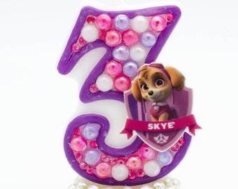 Skye birthday candle / Paw patrol birthday candle / Birthday candle skye / Skye birthday theme / Skye birthday decorations / Paw patrol