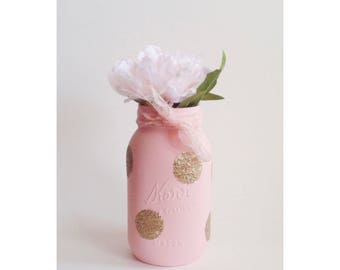 Pink Mason Jar, Pink and White Mason Jar, Polka Dot Mason Jar, Gold First Birthday, Pink and Gold