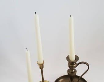 Vintage Brass Candlesticks, Set of 4, Brass Candlestick Collection, Vintage Set of Candlesticks