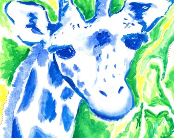Giraffe Watercolor Print, 11x14 Wall Art, Printable, Nursery Art, Kids Wall Art, Baby Shower, Baby Gift, Giraffe Animal Artwork