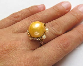 Handmade Sterling Silver Ring, Natural Golden Pearl Ring, Fine Jewelry