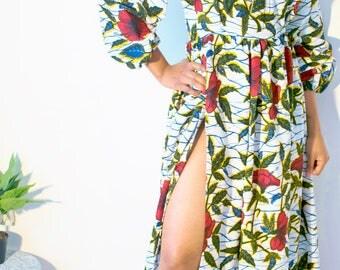 High Slit Maxi Dress Rosa African Print/Ankara