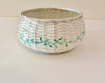 White Basket with Hand painted Flowers / Circular Weaved Basket with Flowers