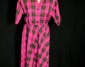 Vintage Womens Pink Plaid Tartan Day  Dress - Size 12