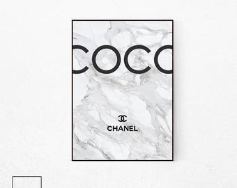 chanel poster etsy. Black Bedroom Furniture Sets. Home Design Ideas