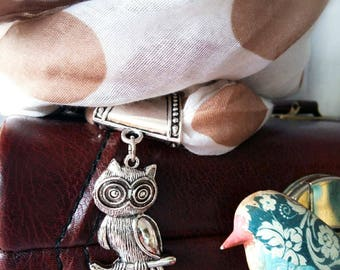 """Jewel of scarf """"My little OWL on a branch"""""""