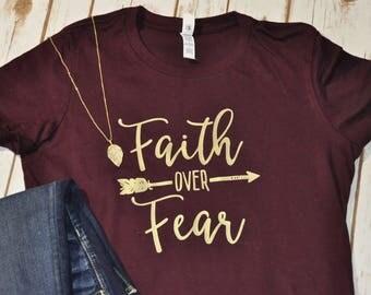Faith Over Fear Arrow Shirt With Gold Lettering, Faith Shirt, Junior's Shirt, Women's Shirt, Christian Shirt, Boho Arrow Shirt