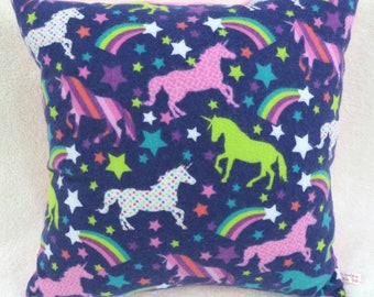 Unicorns and Rainbows in the Starry Night Sky Pillow