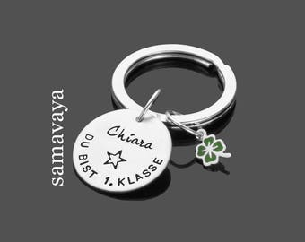 Back to school 1.KLASSE 925 Silver key chain to the training trailer back to school