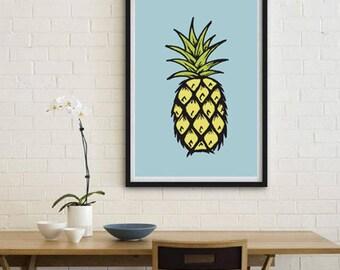 Pineapple, illustration poster, digital prints, colourful, digital art, wall décor, scandinavian print