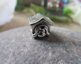 Authentic Pandora Doghouse Charm 790592EN27 Free Velvet Pouch Bag
