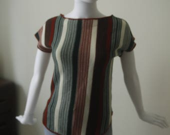 Asymmetrical Striped Knit Top Made in Canada Disco Hippie
