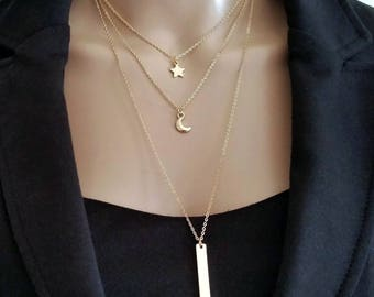 Multi- Layer Chain Bar Necklace, Valentine's day Gift for Her, Gold Layered Long Women Necklace, Gold Moon, Star Bar Charm Chain Jewelry