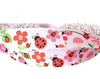 "7/8"" Ladybug Floral Print ~  Grosgrain Ribbon ~ Trim ~ Hair Bows ~ Gift Wrap ~ Scrapbook ~ 7/8 inch"