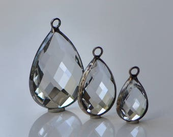 2 Pieces Bezel Set Crystal Clear Faceted Glass Teardrop Briolettes Charms Pendants Silver Toned Metal 3 Sizes