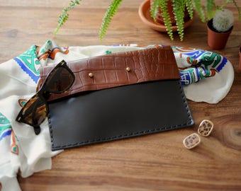 Choco Croc Black & Brown Leather Clutch / Black Handbag / Black Evening Bag / Evening Clutch