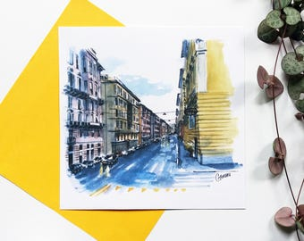 Postcard Italy map, street Genes, cityscape, alley rain, reflections, architecture, Italy city drawing illustration street map, watercolor