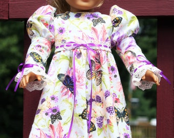 Butterfly Garden Flannel Nightgown..... fits American Girl and other 18 inch dolls