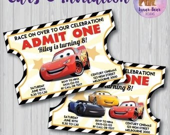 Cars Invitation, Cars 3 Invitation, Vintage Ticket Invitation, Lightning McQueen Invitation, Cars 3 Movie Party, Cars Birthday Party, Cars 3