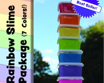 FREE SHIPPING- Rainbow Slime Package-extras included!