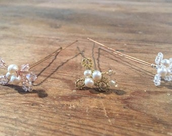 Pearl and Crystal Bridal Hair Pins