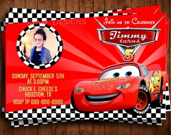 DISNEY CARS MOVIE Digital Personalized Invitations - Cars 3 Birthday Party Invitations - Lightning McQueen Cars Birthday Invites - Racecars