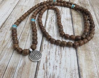 Wood Beaded Zen Style Mala 108 Bead