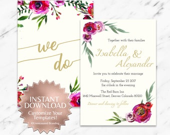 Burgundy and Red Bohemian Floral Printable Wedding Invitation Instant Template