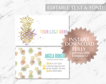 Instant Customizable Gold Pineapple Watercolor Fashion Consultant and LLR Business Card TEMPLATE