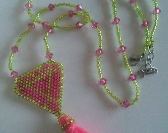 pendant, weaving brick stitch, for teens, women, woven hand, ready to ship