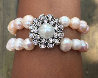Fresh Water Pearl Silver Zinnia Bracelet -- Free Shipping within US