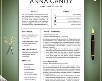 Modern  Resume Template / CV Template + Cover Letter | Professional Resume Template | Clean and creative Resume | Word CV | Resume Word