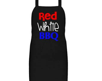 4th of July. Independence Day. Father's Day gift. Fathers Day Apron. Red White BBQ Apron. Summer BBQ season. BBQ aprons.