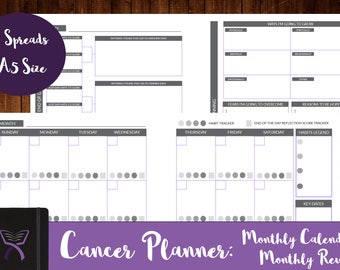Monthly Calendar and Review for Cancer Patients, Monthly Habits Tracker, Cancer Calendar, Habits Tracker Calendar, Cancer Plan, Cancer Gifts
