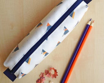 Mountain Print Pencil Case - Grey zip and lining