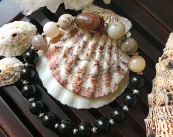 8mm Black Onyx/Silver Hematite/Bamboo Leaf Agate/Tibetan Mystical Three Eyes Dzi Agate Yoga Mala Beaded Bracelet. Protection Amulet.