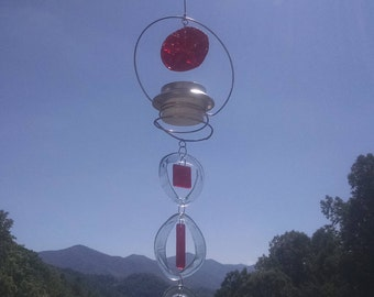 Solar LED light on Glass Wind Chime.  Suncatcher, Windchime,   37