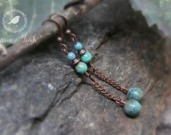 Caribbean Reef Earrings - Blue-Green and Brown Czech Glass Beads - Brass Bronze Chain Dangle - Nature Inspired Boho Jewelry - Yarrow & Finch