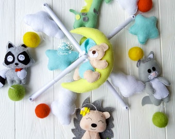 Music mobile Baby mobile forest Nursery mobile woodland Animals baby mobile Crib mobile animals Felt animals  Forest baby mobile Hedgehog