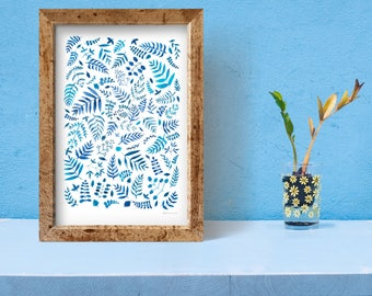 Blue Branches and Leaves //Signed ORIGINAL Watercolor Painting/Illustration/Pattern