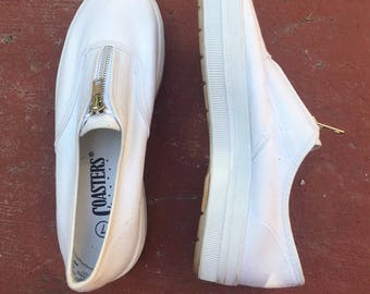 1990s Platform White Sneakers with Zipper | Size 7 | Women's Shoes